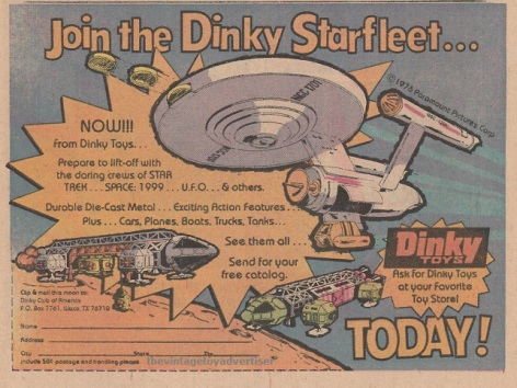 Dinky toys print ad featuring Space 1999 toys. 1976.